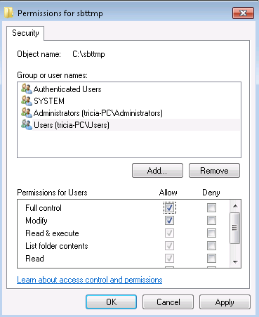 Setting Permissions for Temp Folder - User MUST have full rights!